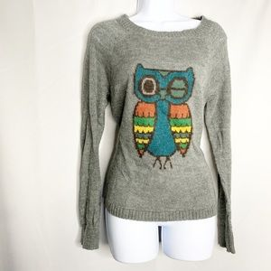 Woolrich frost gray owl sweater M wool mohair